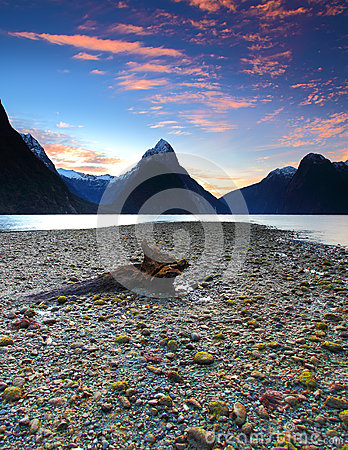 Sunset view at Milford Sound, New Zealand