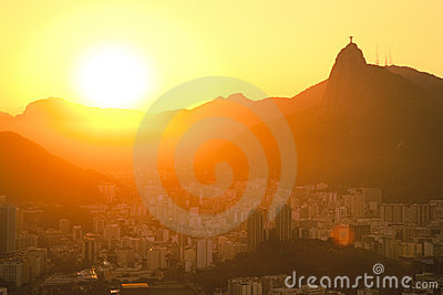 Sunset views of Jesus and Corcovado