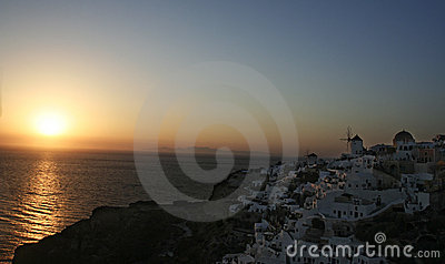 Sunset in village of Oia
