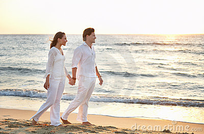 Sunset walk. Young couple