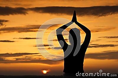 Sunset, she was meditating.