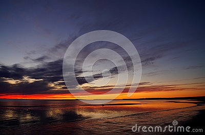 Sunset and White Sea in summer season