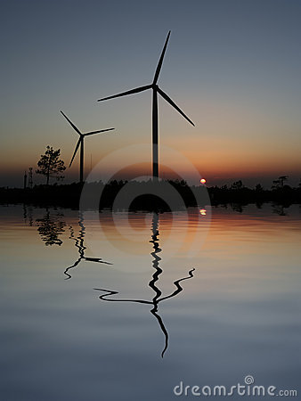 Free Sunset Wind Turbines Royalty Free Stock Image - 2389036