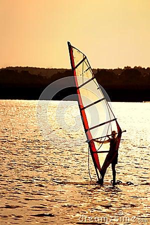 Free Sunset Windsurfing Stock Image - 6399871
