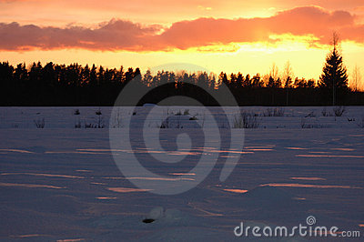 Sunset in winter horizontal