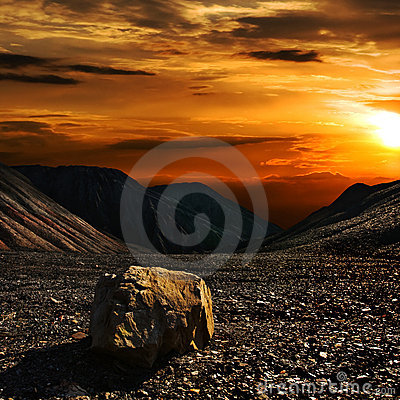 Free Sunset With The Stone Stock Images - 10017494