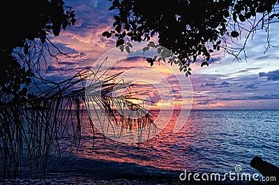 Sunset on wonderful Turquoise Tropical Paradise background
