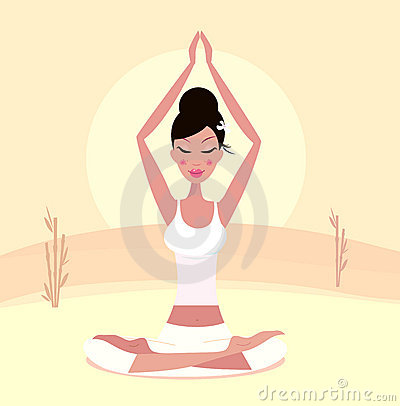 Sunset yoga : relaxing retro woman in lotus pose