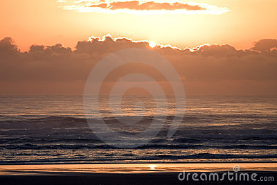 Sunsetbeach, bright, clouds, coast, glow, nature, ocean, orange, oregon, pacific, set, shore, sun, w