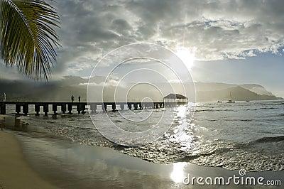 Sunshine at Hanalei Pier.