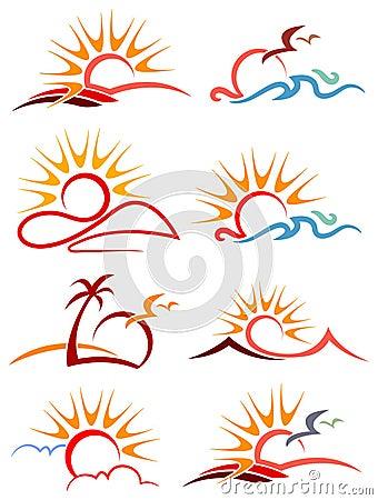 Free Sunshine Logo Set Stock Photography - 33131962