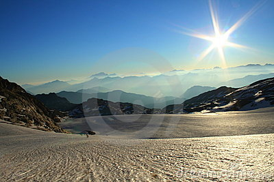 Sunshine over a big glacier