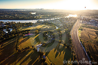 Sunshine over early morning in Brisbane from air
