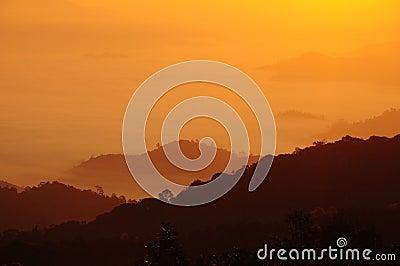 Sunshine over the mist mountain