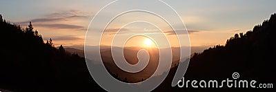 Sunshine over Mountain Valley - panorama