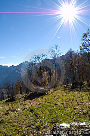 Sunshine Over Mountainside Royalty Free Stock Photo - Image: 3551255