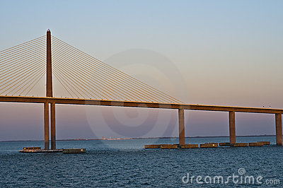 Sunshine Skyway Bridge at Sunset, Florida