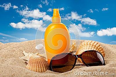 Suntan oil on the beach
