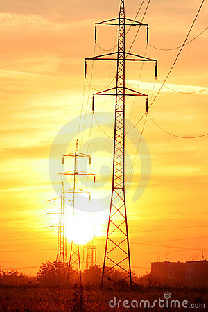 Sunup over electric power line