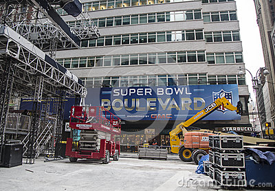 Super Bowl Boulevard construction underway on Broadway during Super Bowl XLVIII week in Manhattan Editorial Stock Photo