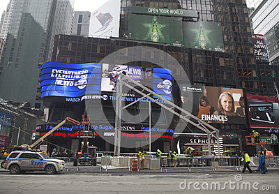 Super Bowl Boulevard construction underway on Times Square during Super Bowl XLVIII week in Manhattan Editorial Stock Photo