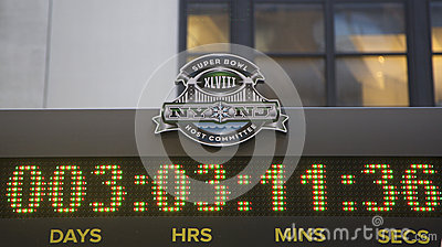 Super Bowl XLVIII NY NJ Host Committee logo on the clock counting time till Super Bowl XLVIII match in Manhattan Editorial Stock Photo