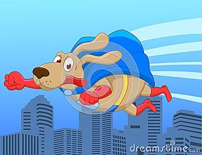 Super dog flying over city