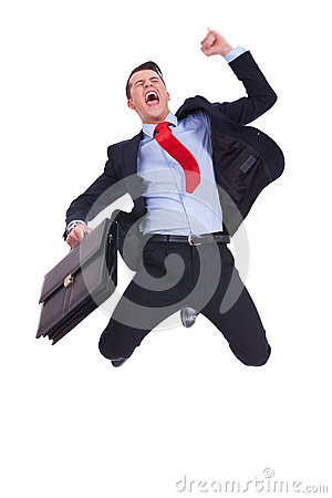 Super excited business man with briefcase
