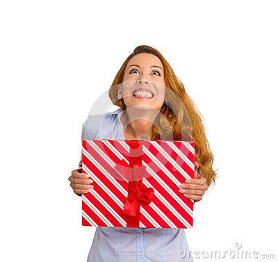 Super Excited Funky Woman With Gift Box Looking Up White ...