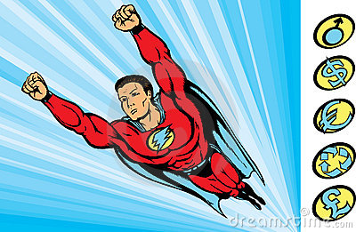Super guy fying into action