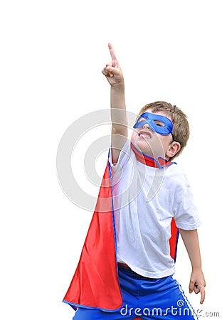 Super Hero Boy Pointing on White Background
