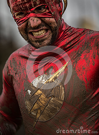 Free Super Hero Competitor 2014 Tough Guy Obstacle Race Stock Images - 72262924