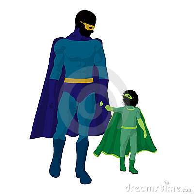 Super Hero Dad Illustration Silhouette