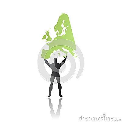 Super hero man saving europe