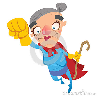 Super hero old woman grandmother flying holding a walking stick.