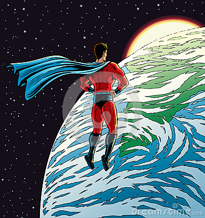 Super hero over Earth