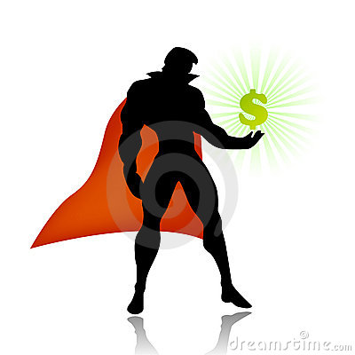 Free Super Hero Saves American Economy Royalty Free Stock Images - 8341479