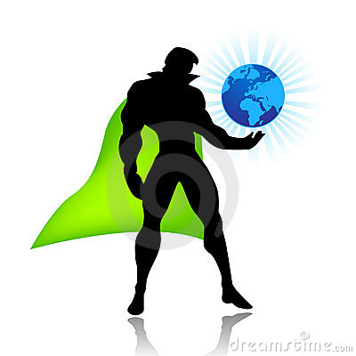 Super hero saves the world vector