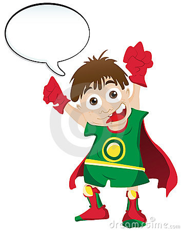 Super hero with Speech Bubble Vector Illustration