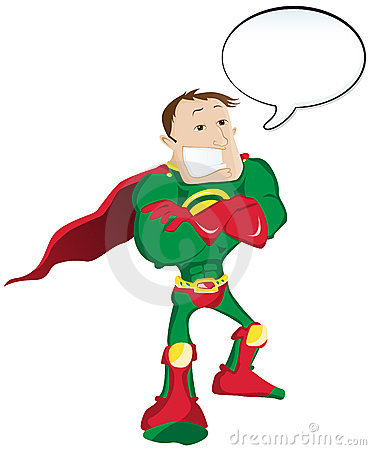Super hero with Speech Bubble