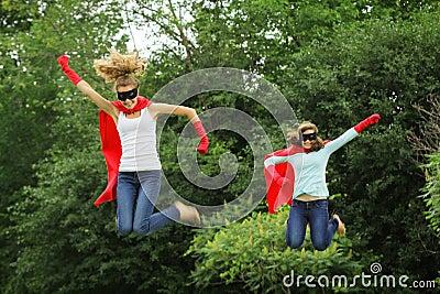 Super heros team jumping