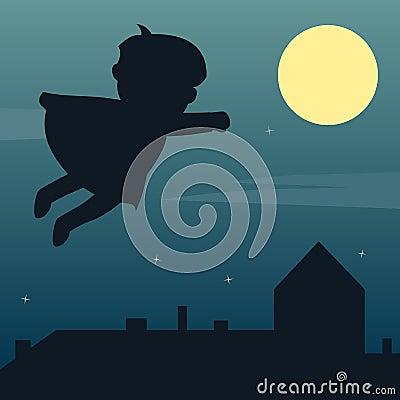 Super héroe en el claro de luna