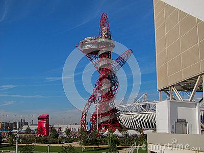 Super Jolly London Olympics Games 2012 Arcelor Mittal Tower and Olympic Stadium Editorial Photo