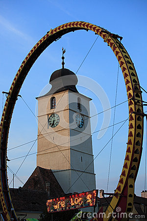 Super Loops wheel in front of Council Tower Editorial Stock Image