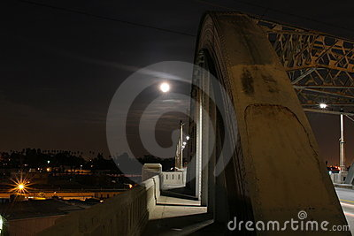 Super Moon over Bridge #2 Editorial Photography