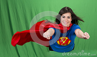 Super Mother Role Model Hero Flying Green Screen