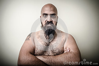 Super power angry muscle bearded man