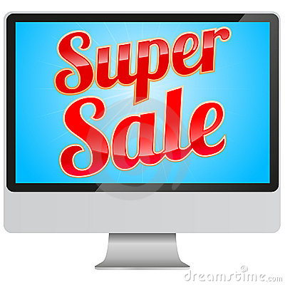 Super Sale sign in modern monitor Editorial Photography