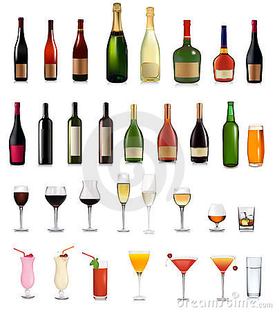 Free Super Set Of Different Bottles Drinks And Cocktail Royalty Free Stock Photos - 18163268