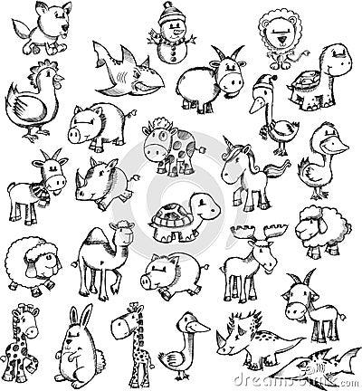 Super Sketch Doodle Animal Set Royalty Free Stock Photos